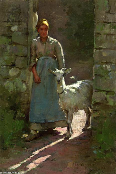 Girl with Goat, 1886 by Theodore Robinson (1852-1896, United States) | Famous Paintings Reproductions | WahooArt.com