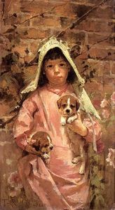 Theodore Robinson - Girl with Puppies