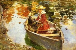Theodore Robinson - Miss Motes and Her Dog Shep