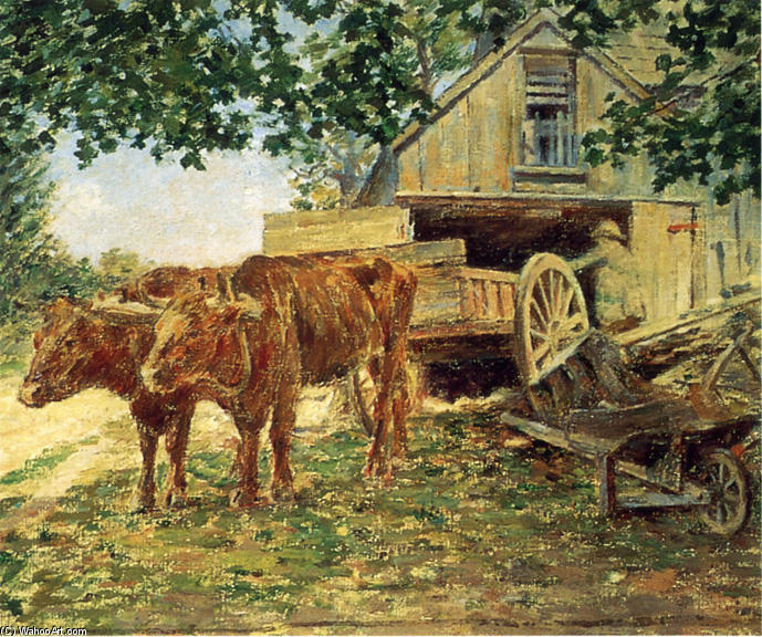 Oxen, 1893 by Theodore Robinson (1852-1896, United States) | Famous Paintings Reproductions | WahooArt.com