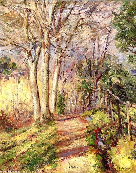 Path in Frascati, 1891 by Theodore Robinson (1852-1896, United States) | Oil Painting | WahooArt.com