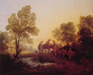 Thomas Gainsborough - Evening Landscape Peasants and Mounted Figures