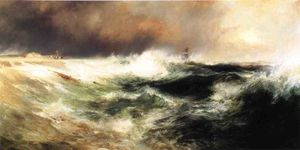 Thomas Moran - Stranded Ship on East Hampton Beach