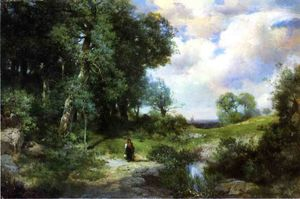 Thomas Moran - Young Girl in a Long Island Landscape