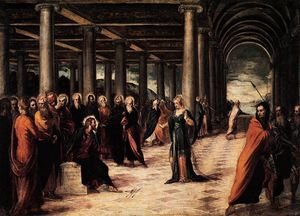 Tintoretto (Jacopo Comin) - Christ and the Woman Taken in Adultery
