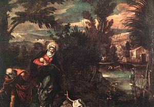 Tintoretto (Jacopo Comin) - Flight into Egypt