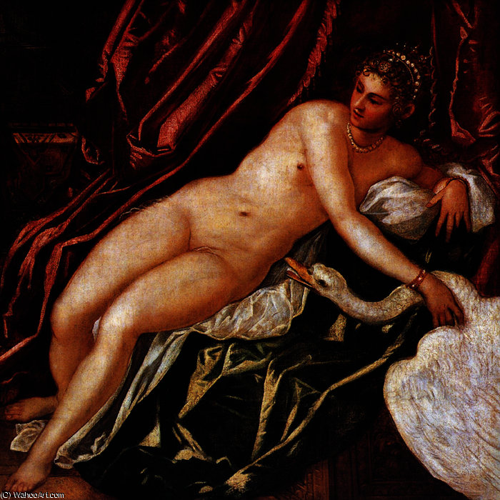 Ledaandtheswan by Tintoretto (Jacopo Comin) (1518-1594, Italy) | Museum Quality Reproductions | WahooArt.com