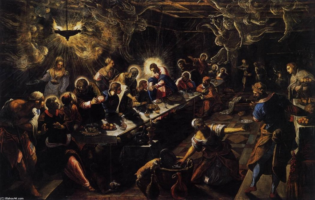 The Last Supper, 1594 by Tintoretto (Jacopo Comin) (1518-1594, Italy) | Museum Quality Reproductions | WahooArt.com