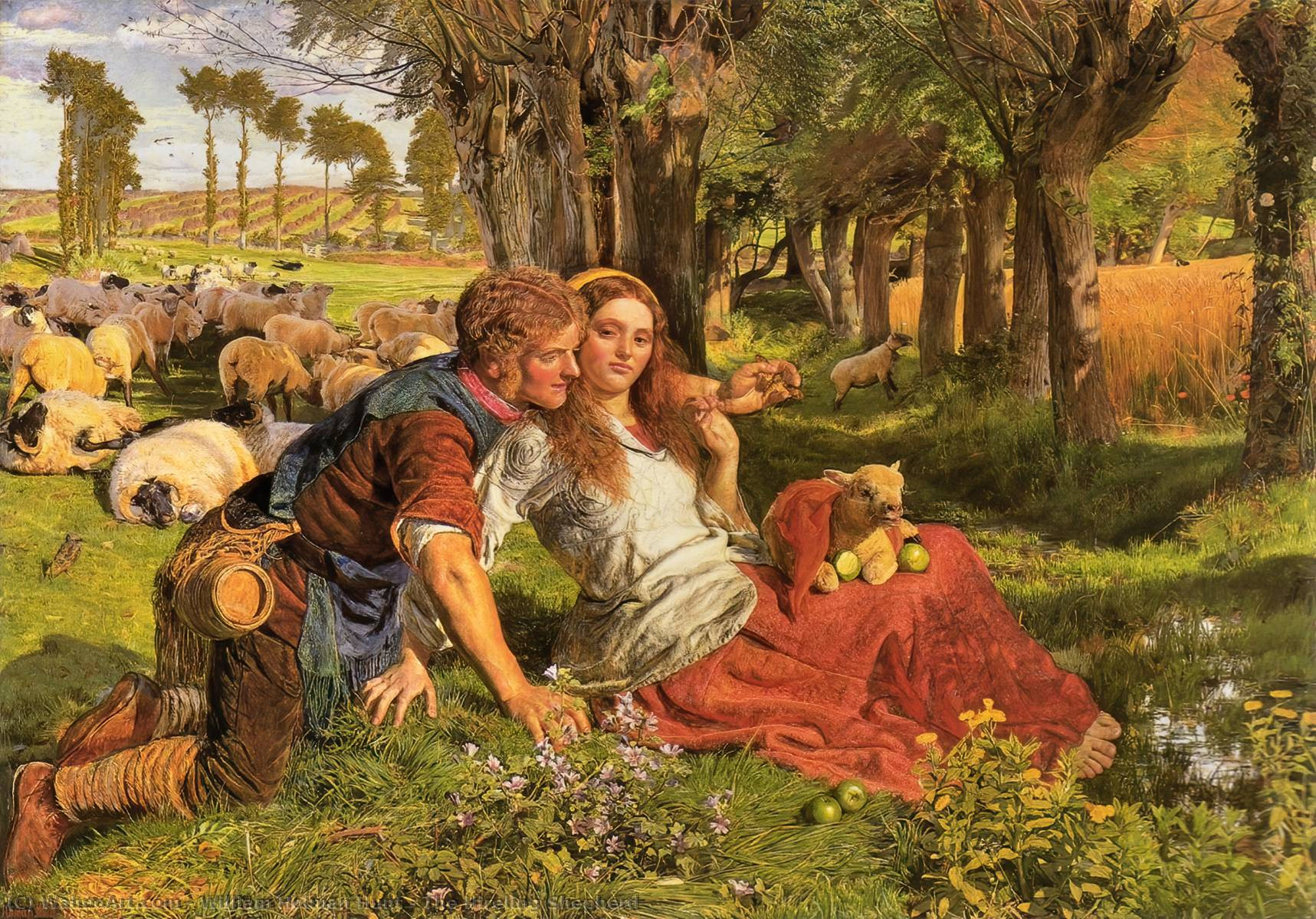 The Hireling Shepherd, 1851 by William Holman Hunt (1827-1910, United Kingdom) | Museum Quality Reproductions | WahooArt.com