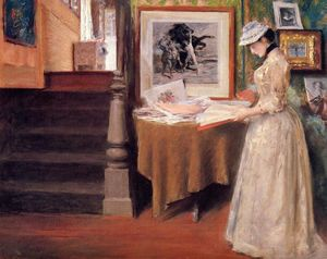 William Merritt Chase - Interior, Young Woman at a Table