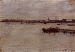 William Merritt Chase - Repair Docks, Gowanus Pier