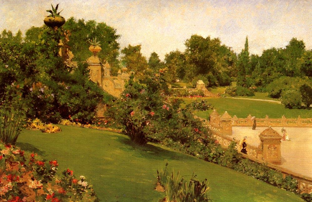 Terrace at the Mall, Central Park, Oil by William Merritt Chase (1849-1916, Indiana)