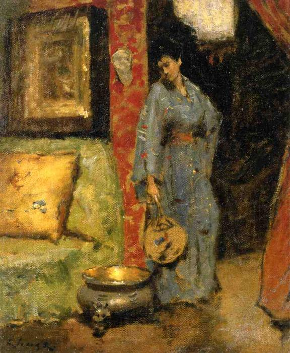 Woman in Kimono Holding a Japanese Fan by William Merritt Chase (1849-1916, United States) | Art Reproductions William Merritt Chase | WahooArt.com
