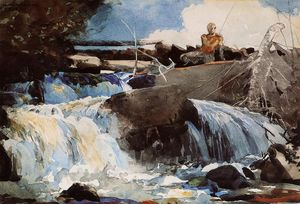 Winslow Homer - Casting in the Falls
