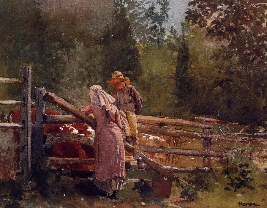 Feeding Time, Watercolour by Winslow Homer (1836-1910, United States)