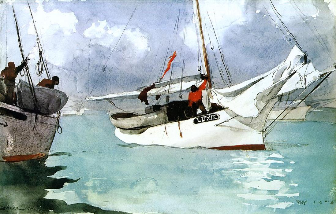 Fishing Boats, Key West, Watercolour by Winslow Homer (1836-1910, United States)