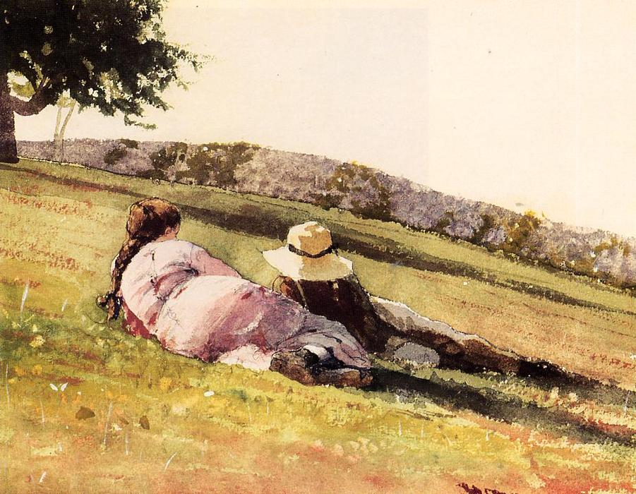 Order Reproductions | On the Hill, 1878 by Winslow Homer (1836-1910, United States) | WahooArt.com