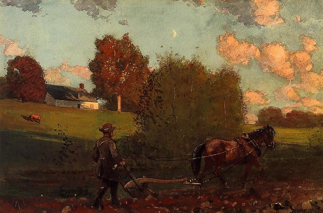 The Last Furrow by Winslow Homer (1836-1910, United States) | Famous Paintings Reproductions | WahooArt.com