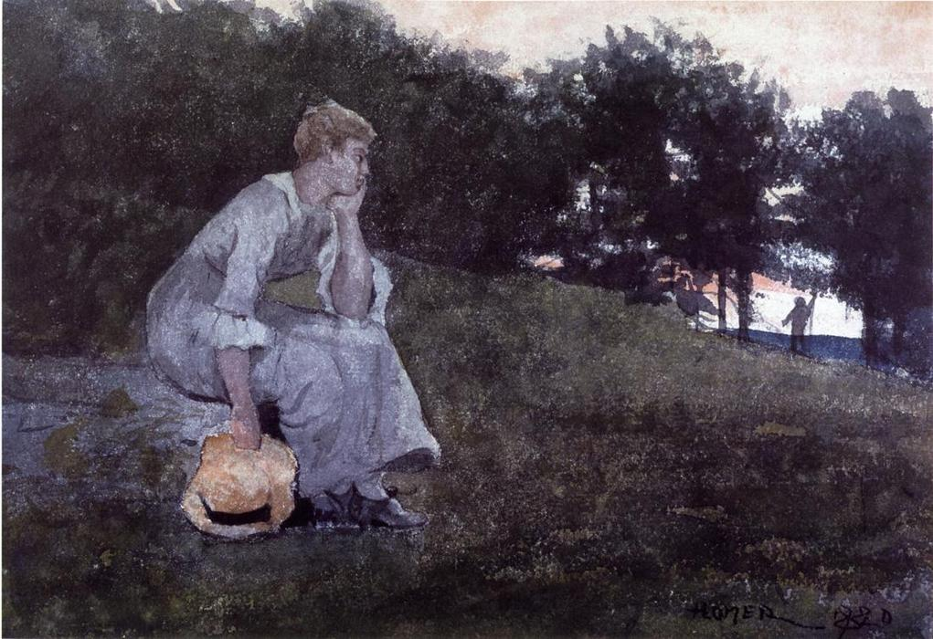 Waiting by Winslow Homer (1836-1910, United States) | Paintings Reproductions Winslow Homer | WahooArt.com