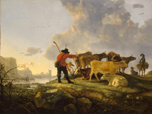 'Herdsmen Tending Cattle', Oil by Aelbert Jacobsz Cuyp (1620-1691, Netherlands)