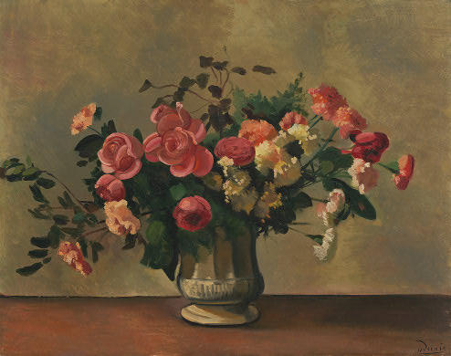 Flowers in a Vase, Oil by André Derain (1880-1954, France)