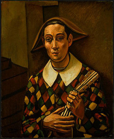 Harlequin, Oil by André Derain (1880-1954, France)