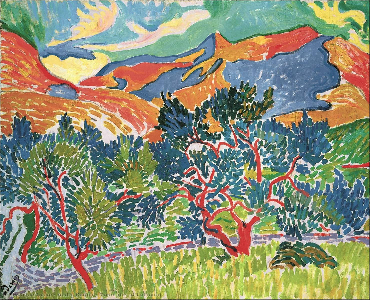 Mountains at Collioure by André Derain (1880-1954, France) | WahooArt.com