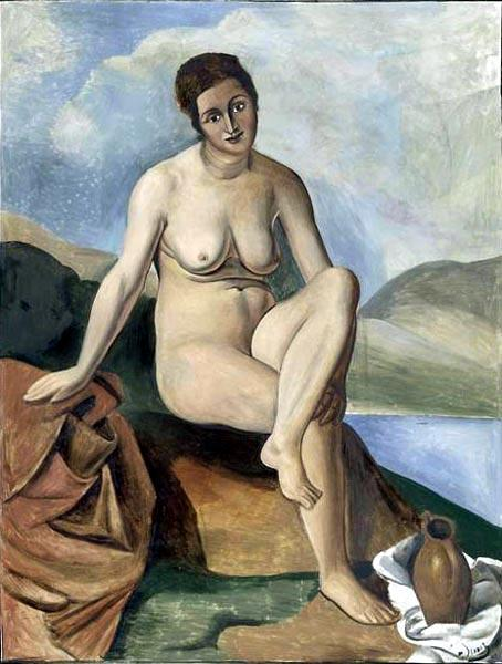 Naked pitcher, Oil by André Derain (1880-1954, France)