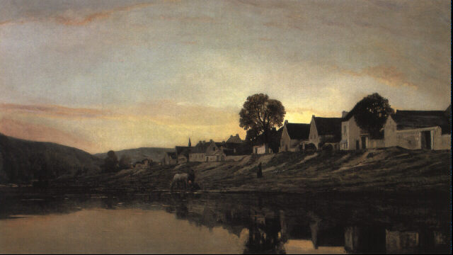 A village near Bonnières by Charles François Daubigny (1817-1878, France) | Museum Quality Reproductions | WahooArt.com