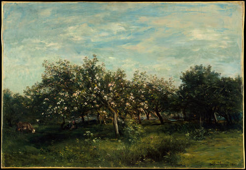Apple Blossoms, Oil by Charles François Daubigny (1817-1878, France)