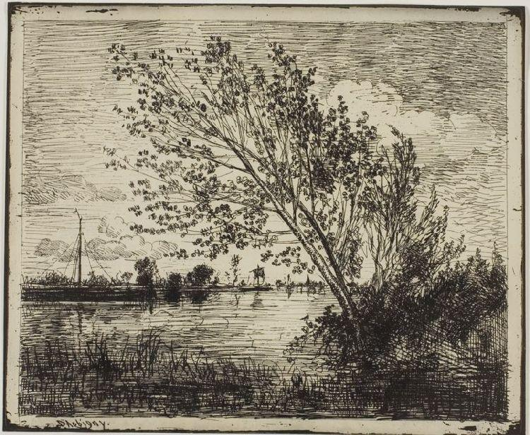 Clump of Alder Trees by Charles François Daubigny (1817-1878, France) | Oil Painting | WahooArt.com