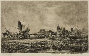 Charles François Daubigny - Covered Wagons (Souvenir of the Morvan)