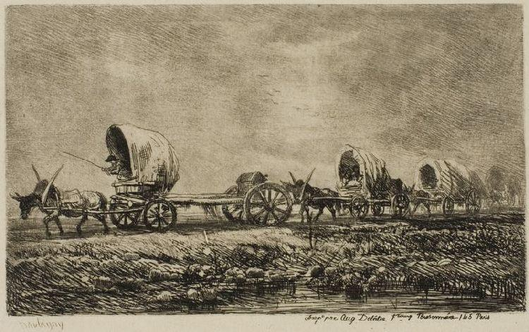 Covered Wagons (Souvenir of the Morvan), Oil by Charles François Daubigny (1817-1878, France)