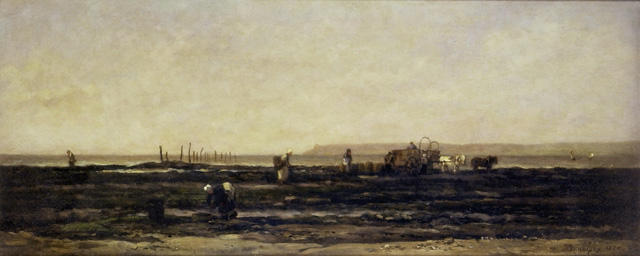 Fisher Folk gathering Seaweed, Villerville, Oil by Charles François Daubigny (1817-1878, France)