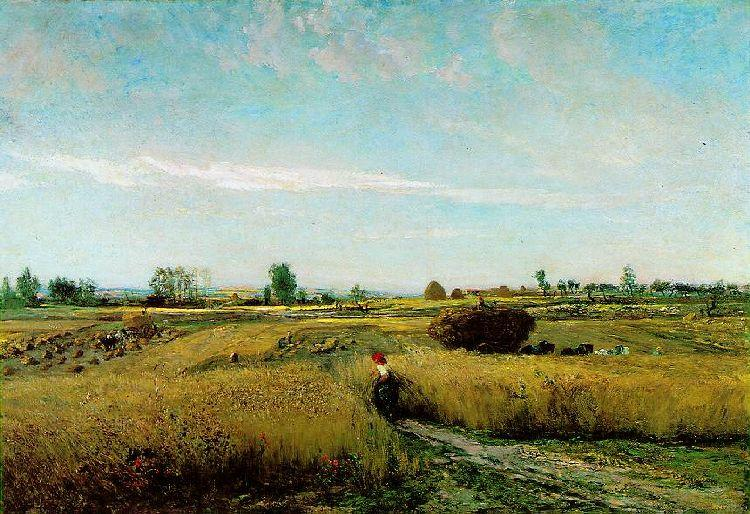 Harvest, Oil by Charles François Daubigny (1817-1878, France)