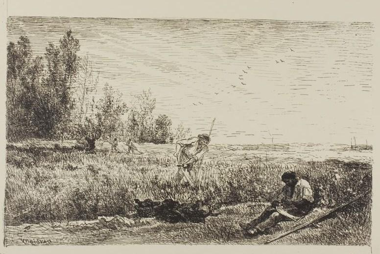Haymaking, Oil by Charles François Daubigny (1817-1878, France)