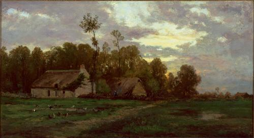 Landscape with Cottage by Charles François Daubigny (1817-1878, France) | Paintings Reproductions Charles François Daubigny | WahooArt.com