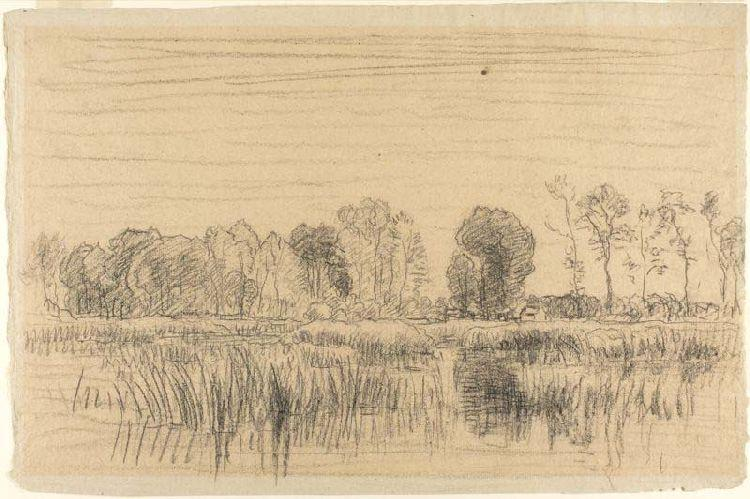 Marsh and Screen of Trees by Charles François Daubigny (1817-1878, France) | Museum Quality Reproductions | WahooArt.com