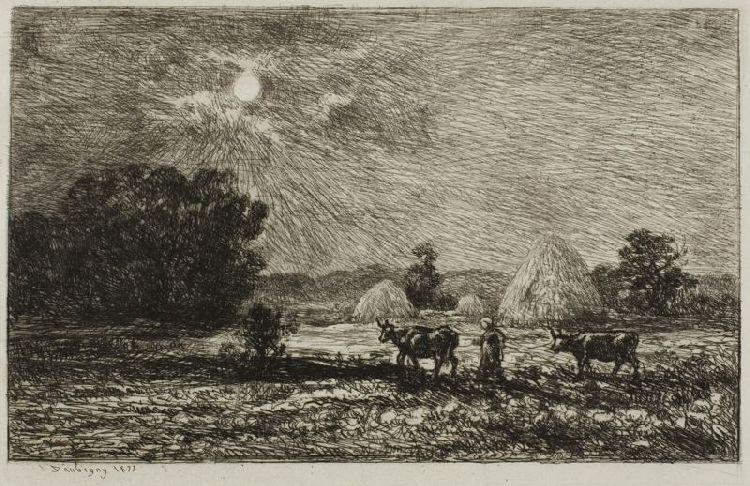 Moonlight at Valmondois, Oil by Charles François Daubigny (1817-1878, France)