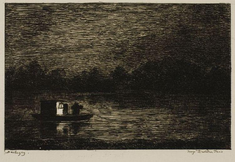 Night Voyage (The Fishing Net) by Charles François Daubigny (1817-1878, France) | Oil Painting | WahooArt.com