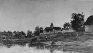 Charles François Daubigny - On the Bank of the Seine at Portejoie