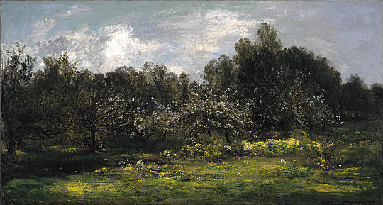Orchard in Blossom, Oil by Charles François Daubigny (1817-1878, France)