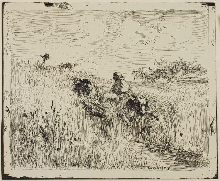 Path Through the Wheatfield by Charles François Daubigny (1817-1878, France) | Museum Quality Reproductions | WahooArt.com