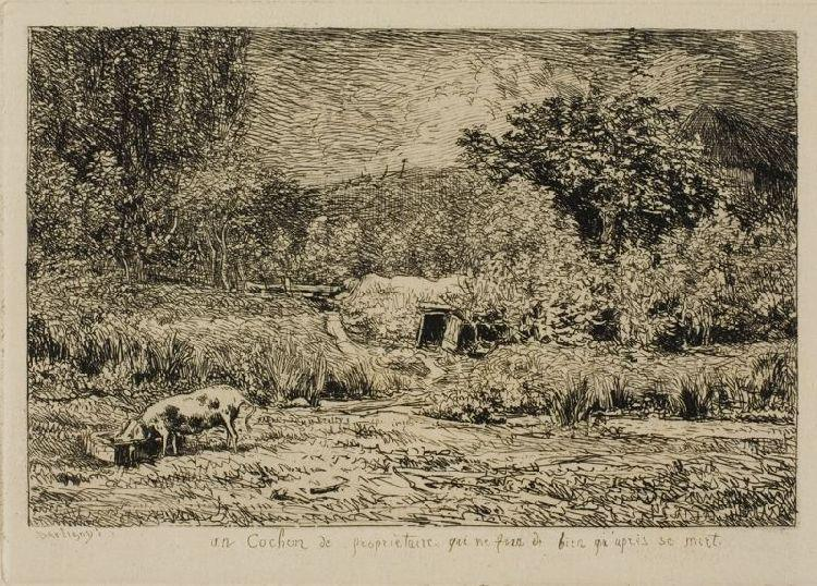 Pig in an Orchard by Charles François Daubigny (1817-1878, France) | Painting Copy | WahooArt.com