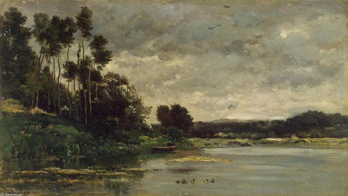 River Bank, Oil On Panel by Charles François Daubigny (1817-1878, France)