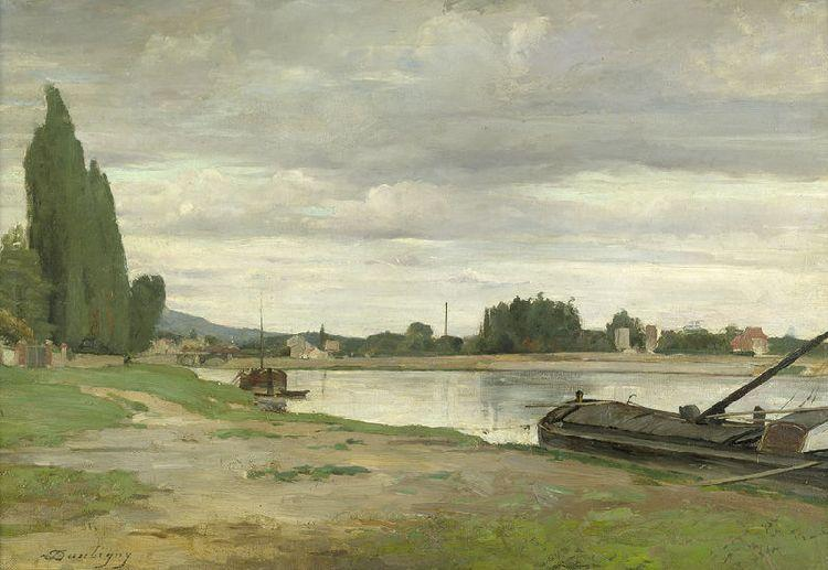 Riverside with anchored barge, Oil by Charles François Daubigny (1817-1878, France)
