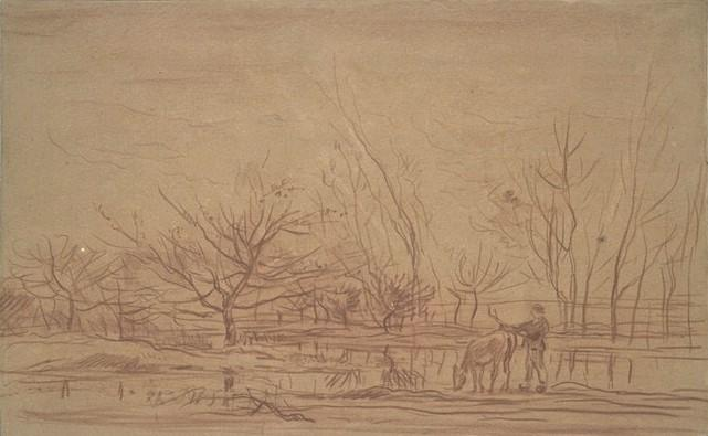 Sketch of a landscape, Oil by Charles François Daubigny (1817-1878, France)