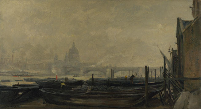 St Paul's from the Surrey, Oil by Charles François Daubigny (1817-1878, France)