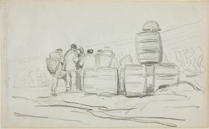 Charles François Daubigny - Study, a Group of People with Barrels