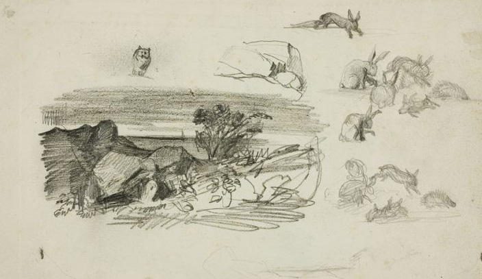 Study, Rocky Setting and Rabbits, Oil by Charles François Daubigny (1817-1878, France)